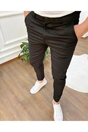 Erkek Siyah Keten Likralı Kumaş Kesim Petek Pantolon