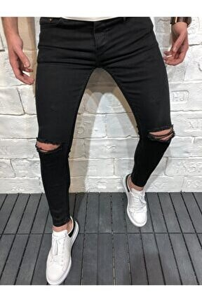 Erkek Siyah Denim Dizleri Yırtıklı Skiny Likralı Pantolon