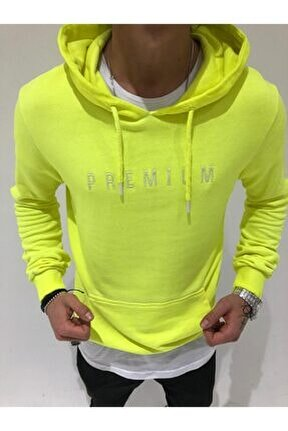 Erkek Sarı  Kapşonlu Neon Sweetshirt