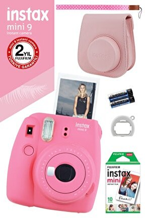 Instax Mini 9 Pembe Fotoğraf Makinesi Ve Hediye Seti 3 /