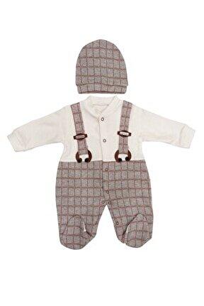 Erkek Bebek Kahverengi Şapkalı Tulum