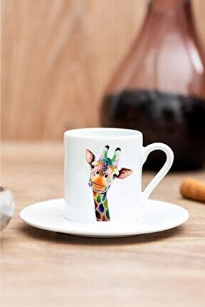 Renkli Zürafa Baskılı Kahve Fincanı