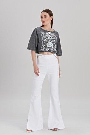 Kadın Beyaz Bel Detaylı Yırtmaçlı İspanyol Paça Pantolon YL-PN99694