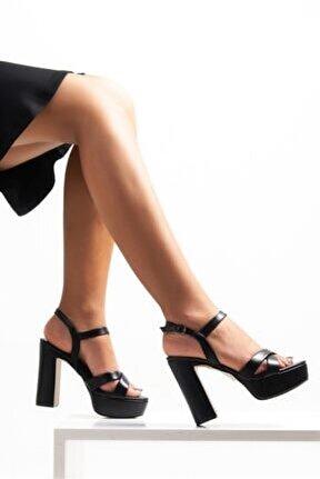 Kadın Pu Siyah Platform Kalın Topuk Ayakkabı