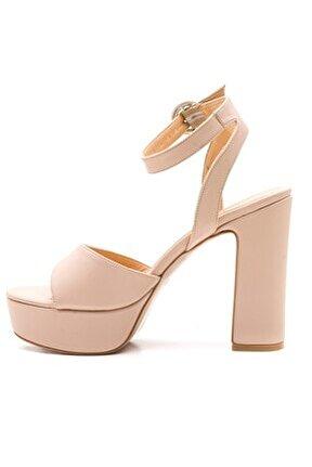 Kadın Pu Ten Platform Kalın Topuklu Ayakkabı
