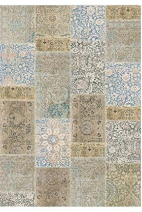 Gloria Td768 Bej Mavi Patchwork Desen Dokuma Saçaklı Kilim