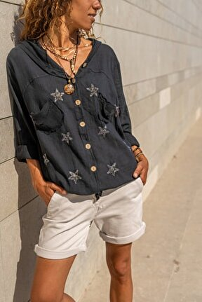 Kadın Siyah Yıkamalı Keten Fileli Yıldız Pullu Kapüşonlu Bluz GK-RSD2046