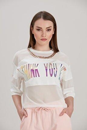 Kadın Beyaz Yuvarlak Zincirli Yaka Tül Detaylı Baskılı Bluz YL-BL99273