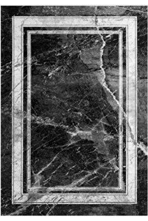 Gloria Td675 Siyah Art Deco Mermer Desen Dokuma Saçaklı Kilim