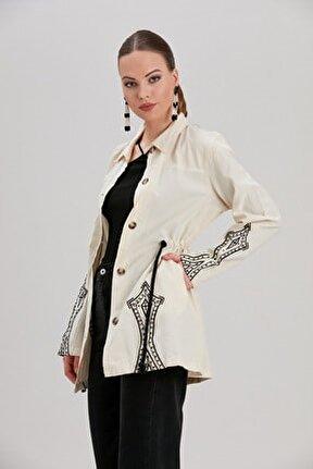 Kadın Ekru Tribal Nakış Detaylı Beli Bağlamalı Oversize Ceket YL-CE99924