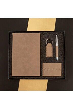 Yeni İş Hediyesi 4lü Ofis Seti - Kalem Defter Anahtarlık Kartvizitlik Seti