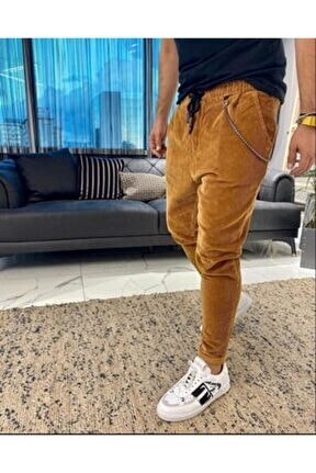 Erkek Hardal Kadife Salaş Boyfriend Pantolon