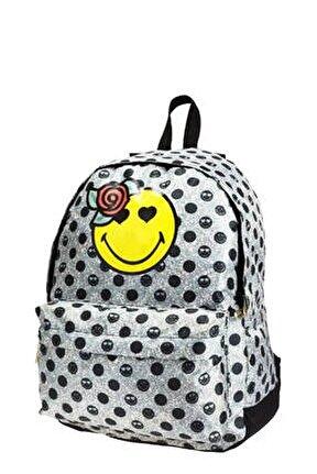 Smiley Rose Gri-Sarı Genç Kız Sırt Çantası (43X33X19 Cm) /