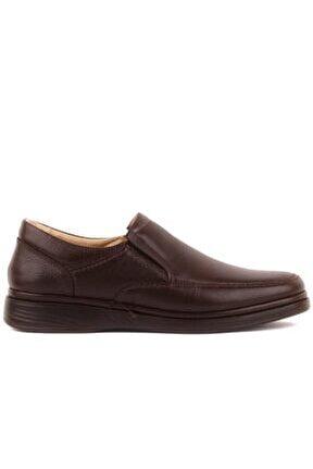 Kahverengi Deri Bağcıksız Erkek Günlük Ayakkabı