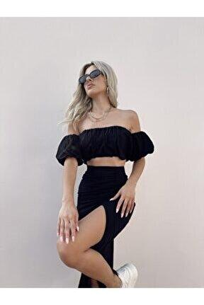 Kadın Siyah Crop Bluz Yüksek Bel Yırtmaçlı Etek Keten Porvy Takım