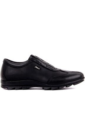 Fosco - Siyah Deri Bağcıksız Erkek Günlük Ayakkabı