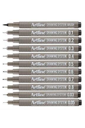 Drawing System Teknik Çizim Kalemi 11'li Tam Set