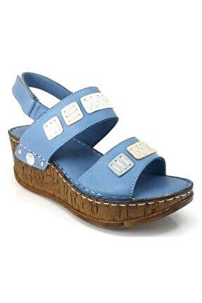 1185 Günlük  Kadın Sandalet Kot Mavi