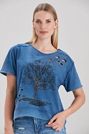 Kadın Mavi Dev Ağaç Baskılı Lazer Yırtıklı T-Shirt YL-TS99227