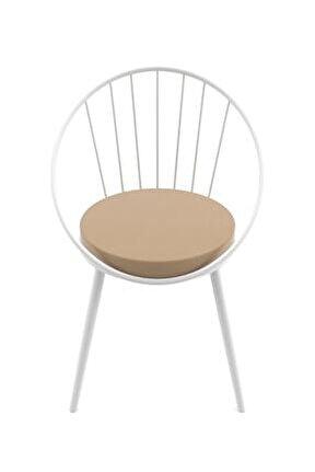 Eylül Metal Tel Sandalye Beyaz Kahve