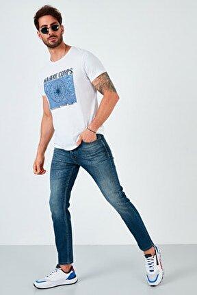 Pamuklu Skinny Fit Dar Paça Jeans Erkek KOT PANTOLON 7535F240BARTEZ