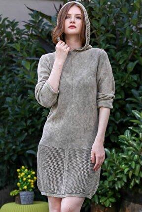 Kadın Taş Retro Kapüşon Detaylı Etek Ucu Kafes Örgü Yıkamalı Triko Elbise M10160000EL96236