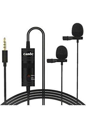 İkili Yaka Kondenser Ses Kayıt Mikrofonu