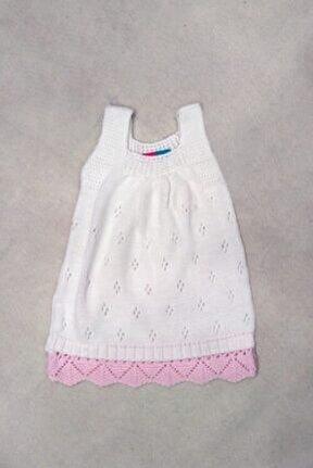 Kız Çocuk Beyaz Örgü Jile Elbise