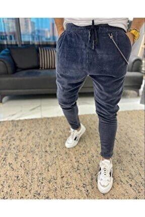 Erkek Lacivert Kadife Salaş Boyfriend Pantolon