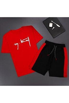M.kemal Kırmızı Şort T-shirt Eşofman Takım