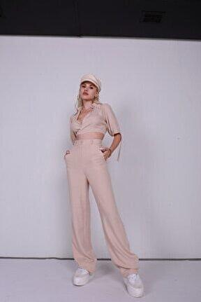 Kadın Bej Keten Kumaş Gabby Pantolon