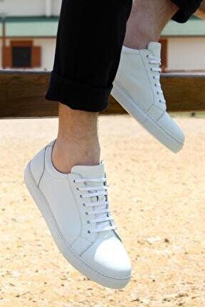 Hakiki Deri Erkek Beyaz Sneakers Spor Ayakkabı Ped Destekli Moda