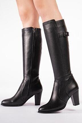 Hakiki Deri Kadın Çizme Saraçlı Topuklu Kışlık Ayakkabı