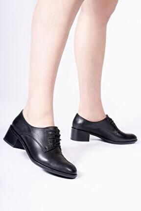 Hakiki Deri Kadın Oxford Bağcıklı Klasik Günlük Ayakkabı