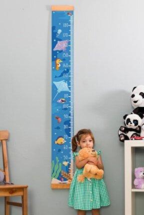 Çocuğa Hediye Deniz Temalı Boy Ölçme Cetveli - Asılabilir Boy Ölçer - Duvara Monte Bebek Boy Ölçer