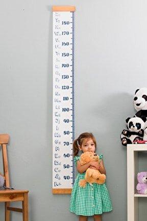 Alfabe Tasarımlı Boy Ölçme Cetveli - Asılabilir Boy Ölçer - Duvara Monte Bebek Boy Ölçer