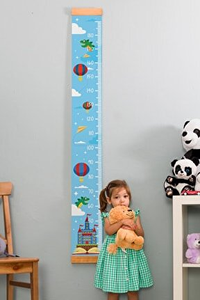 Çocuk Odası Masal Dünyası Boy Ölçme Cetveli - Asılabilir Boy Ölçer - Duvara Monte Bebek Boy Ölçer