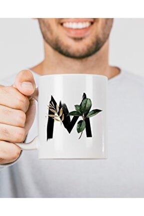 M Harfi Baskılı Çiçek Desenli Dekoratif - Baş Harf Baskılı Kupa Bardak - M Harfli Kahve Bardağı