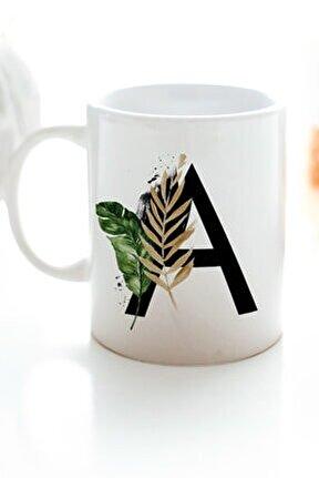 A Harfi Baskılı Çiçek Desenli Dekoratif - Baş Harf Baskılı Kupa Bardak - A Harfli Kahve Bardağı