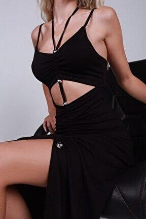 Kadın Siyah Yırtmaçlı Askılı Duarte Penye Elbise