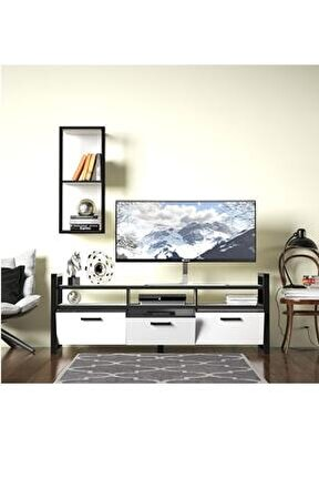 Sedef Tv Sehpası Tv Ünitesi Beyaz Siyah