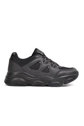 144 Siyah Kadın Kalın Taban Hafif Sneaker