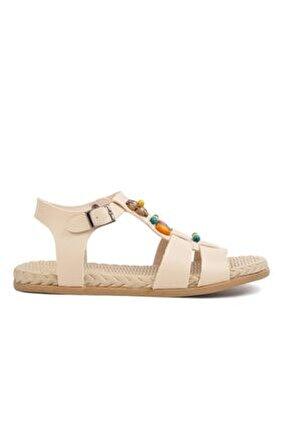153-01 Bej Kadın Sandalet