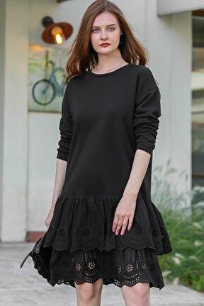Kadın Siyah Retro Sıfır Yaka Etek Ucu Fisto Fırfır Detaylı Elbise M10160000EL96168