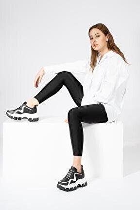Hakikiderikadın Sneaker Yüksek Tırtıklı Tabanlı Spor Ayakkabı