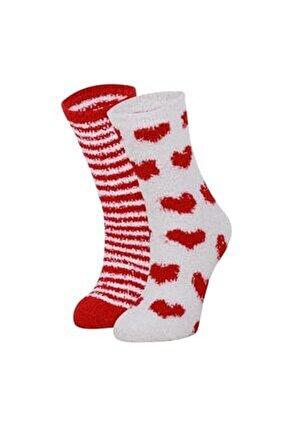 2'li Home Socks Kırmızı Ev Çorabı