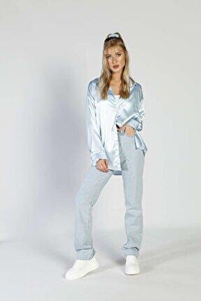 Kadın Mavi Pecta Gömlek
