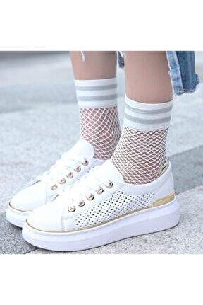 Beyaz Simli File Soket Kadın Çorap