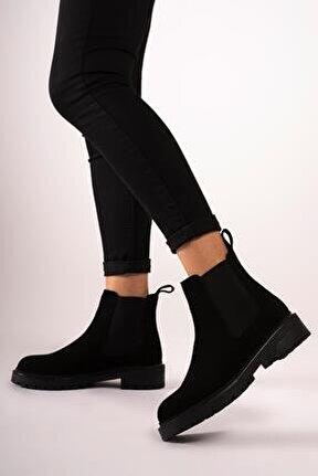 Hakiki Deri Kadın Yanı Lastikli Bot Nubuk Rahat Kışlık Ayakkabı