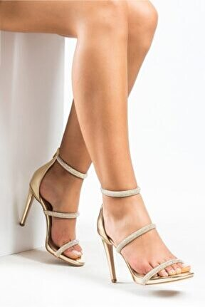 Kadın Pu Dore Ayna Taşlı Ince Topuk Ayakkabı